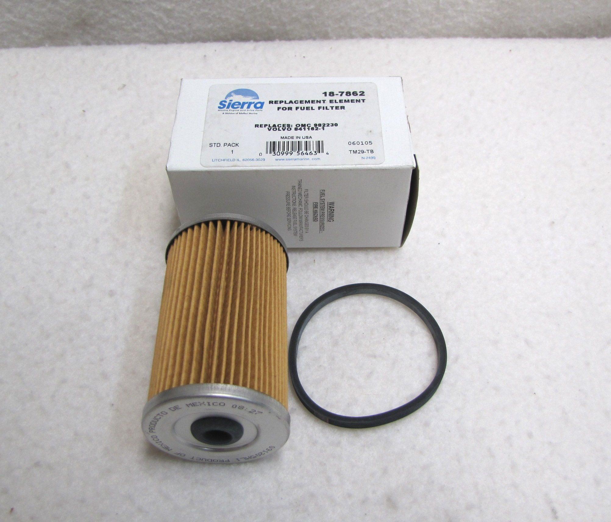 sierra marine 18-7862 omc fuel filter element 0982230